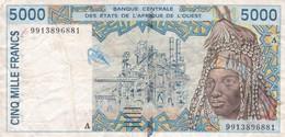 BILLET 5000 FRANCS BCEAO  PICK 113A ETAT VOIR SCAN - Côte D'Ivoire