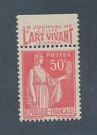 FRANCE -  N°YT 283 NEUF** PUBLICIT2 LE JOURNAL DE L'ELITE L'ART VIVANT LE N°10- 1932/33 - COTE YT: 3.35€ - Publicités