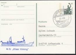"""Deutsche SCHIFFSPOST DS """"Klaar Kiming"""", Sylt-Helgoland, Wyker Dampfschiffs-Reederei 23.8.1990 Auf PK P 141 - Marítimo"""