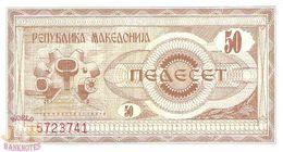 MACEDONIA 50 DENAR 1992 PICK 3a UNC - Macedonië