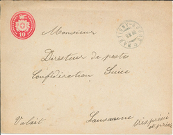 Tübli-Brief 1880 Martigny-Bourg Nach Lausanne - Ganzsachen