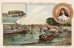 """Chromo Chocolat Lombart - Série Des Ponts De Paris """" Le Pont Marie """" - Lombart"""