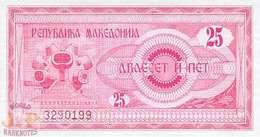 MACEDONIA 25 DENAR 1992 PICK 2a UNC - Macedonia