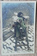 CPA FANTAISIE NOEL Enfant Avec Ailes D'Ange Longue-Vue Arc Lanterne Sur Un Toit . - Noël