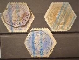 BELGIUM - Canceled - YT 3, 13, 17 - Telegraph Stamps 10c 50c 5F - Télégraphes