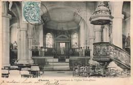 02 Chauny Vue Interieure De L' Eglise Notre Dame Interieur Cpa Cachet 1904 - Chauny