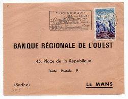"""1966--Flamme De MONTRICHARD-41- """" Donjon-Caves-Rivière-Plage """" (pont) --tp Mont Blanc....à Saisir - Marcophilie (Lettres)"""