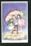 Künstler-AK Rene Cloke: Home From The Carnival, Junge Und Zwei Mädchen Untern Pilz - Altre Illustrazioni