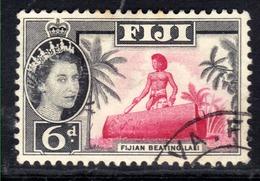 Fiji 1959 - 63 QE2 6d Fijian Beating Lali Used SG 303 ( L893 ) - Fiji (...-1970)