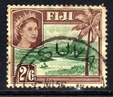 Fiji 1954 - 59 QE2 2/-6d Green & Brown Used SG 292 ( K1132 ) - Fiji (...-1970)