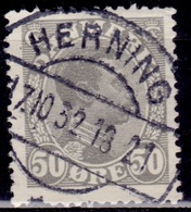 Denmark 1921, King Christian X, 50 Ore, Used - 1913-47 (Christian X)