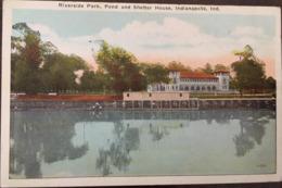 Riverside Park Pond And Shelter House Indianapolis Indiana, éd De Wolf News Co, Non écrite - Indianapolis