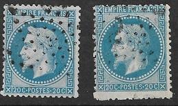 France   N°29B    X 2  Oblitérés  B/ TB  étoiles De Paris      ... Soldé à Moins De 10  % ! ! ! - 1863-1870 Napoleon III With Laurels