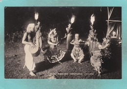 Small Old Postcard Of Devil Dancing Ceremony,Ceylon,Sri Lanka.S104. - Sri Lanka (Ceylon)