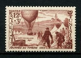TUNISIE 1955 N° 388 ** Neuf MNH Superbe C 2.40 € Journée Du Timbre Postes Courrier Ballon Transports - Tunisie (1888-1955)
