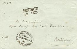1850 -LOMBARDIA - Lettera Da SONDRIO / 12 SET.   Per Poschiaro- - 1. ...-1850 Prephilately