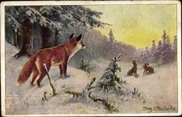Artiste Cp Anderle, Fuchs Und Hasen In Winterlandschaft - Animaux & Faune