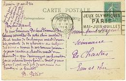 FLIER PARIS GARE ST LAZARE JEUX OLYMPIQUES 1924 SUR CPA ASNIERES - Annullamenti Meccanici (pubblicitari)