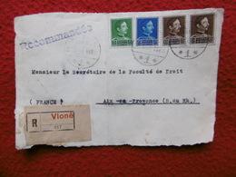 ALBANIE DEVANT DE LETTRE RECOMMANDE CACHET VLONE 1936 TIMBRES COULEUR - Albania