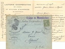LAITERIE COOPÉRATIVE LIGUEIL INDRE-ET-LOIRE USINE DE MANTHELAN TàD 7-9-18 - Marcophilie (Lettres)