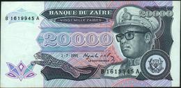 ZAIRE - 20.000 Zaires 01.07.1991 {Mobutu} VF+ P.39 - Zaïre