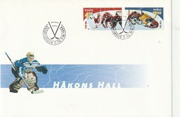 Første Dagers Omslag. Norge. 1999. 2 Ishockey Frimerker. Håkon's Hall - Hockey (Ice)