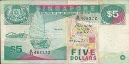 SINGAPOUR  -  SINGAPORE   5  Dollars  Nd(1989)   --   Série Navires - Singapore
