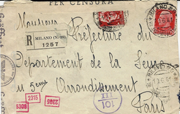 1941- Busta Racc. Da Milano Per Parigi  - Censure Italiana  Y Tedesca - Storia Postale
