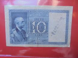 ITALIE 10 LIRE 1935-44 AVEC CACHET:8 AVRIL 1938 CIRCULER (B.11) - Italia – 10 Lire