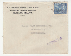 Arthur Christian & Co., Sliema Company Letter Cover Posted 193? To Peterswald - Czech Censure B200320 - Malta