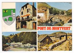 48 Pont De Montvert Vers Florac En 4 Vues Et Blason De 1976 Hôtel De La Truite Pont - Le Pont De Montvert