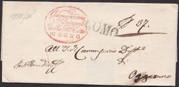 1825. COMO A OGNIONE. MARCA LINEAL COMO Y ESPECTACULAR FRANQUICIA. CERT. DE OFICIO. MUY BONITA ENVUELTA. - Italy