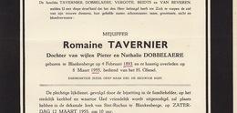 Faire Part De Décès Romaine Tavernier Blankenberge - Obituary Notices