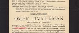 Faire Part De Décès Omer  Timmerman Pasteur Curé De Panne - Overlijden
