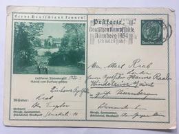 GERMANY 1934 Postkarte Mi P 232 0100 Nurnberg Internal Re-directed To Windsheim - Storia Postale