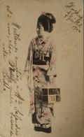 Japan - Japon // Woman - Geisha?? In Kimono With Stamp Hong Kong 1904 - Sin Clasificación