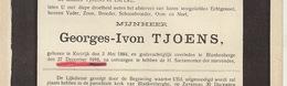 Faire Part De Décès Georges Tjoens Courtrai Blankenberge - Overlijden
