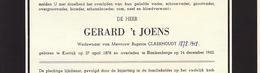 Faire Part De Décès Gerard 't Joens Tjoens Claerhoudt Courtrai Blankenberge - Notes Généalogiques Au Dos - Overlijden