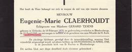 Faire Part De Décès Eugenie 't Joens Tjoens Claerhoudt Uitkerke Blankenberge - Notes Généalogiques Au Dos - Overlijden
