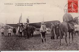 GERS   AUCH  LE LIEUTENANT DE ROSE AVANT SON DEPART D'AUCH A L'AERODROME DE COULOUME - Auch