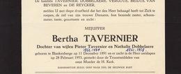 Faire Part De Décès Bertha Tavernier Blankenberge - Obituary Notices