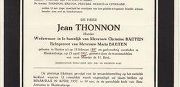 Faire Part De Décès Jean Thonon Baeten Sluizen Blankenberge - Overlijden