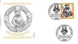 """BRD Schmuck-FDC """"500. Geburtstag Von Ulrich Von Hutten"""" Mi. 1364 ESSt 14.4.1988 BONN 1 - FDC: Sobres"""