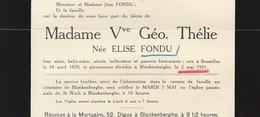 Faire Part De Décès Thélie Née Elise Fondu Bruxelles Blankenberge - Overlijden