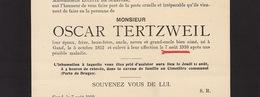 Faire Part De Décès Oscar Tertzweil Gand - Overlijden