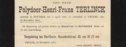Faire Part De Décès Polydoor Terlinck Houthem Veurne - Overlijden