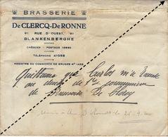 Enveloppe Brasserie De Clercq De Ronne Blankenberge Blankenberghe - Alimentare