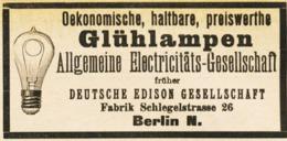 Original-Werbung/ Anzeige 1889 - GLÜHLAMPEN / GLÜHBIRNEN / DEUTSCHE EDISON GESELLSCHAFT - BERLIN - Ca. 90 X 45 Mm - Werbung