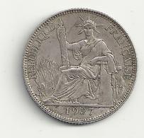 Indochine Française 20 Cents 1937 Argent - Colonias