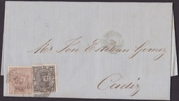 1857. GIBRALTAR A CÁDIZ. 4 CUARTOS ROJO MAT. PARRILLA. FECHADOR Y TASA 2 PENIQUES. MNS. POR VAPOR. MUY RARA INTERESANTE. - Gibraltar
